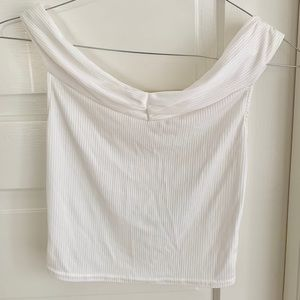 UO off the shoulder, white crop top